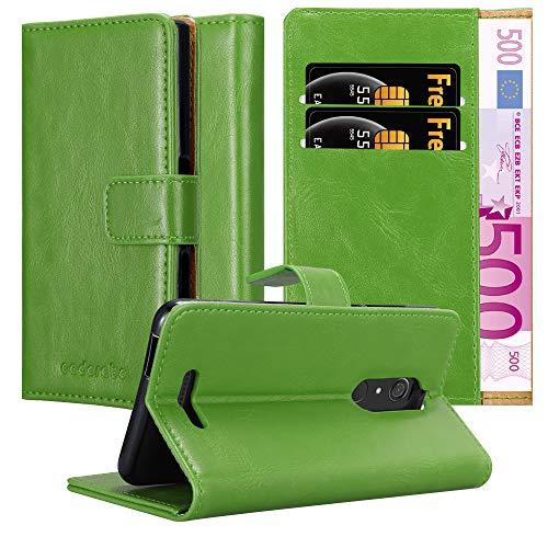 Cadorabo Hülle für WIKO View in Gras GRÜN – Handyhülle mit Magnetverschluss, Standfunktion & Kartenfach – Hülle Cover Schutzhülle Etui Tasche Book Klapp Style