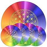 atalantes spirit Blume des Lebens Untersetzer, Set 1 + 4 Stück für Karaffen & Gläser, Farbe Rainbow, 2 Größen 19 + 9,5cm