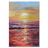 wZUN Pintura al óleo del Nivel del mar Pintura del Amanecer Sala de Estar Pintura de la Pared del hogar Pintura de Paisaje Mural 60x90 Sin Marco