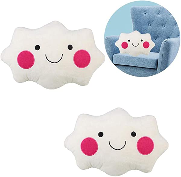 Xiton 2PCS Cute Cloud Shaped Pillow Smiley Face Cloud Cushion Soft Plush Nap Pillow Stuffed Plush Toy Bedroom Decor Sweet Dreams Cloud Cushion Pillow For Home Office
