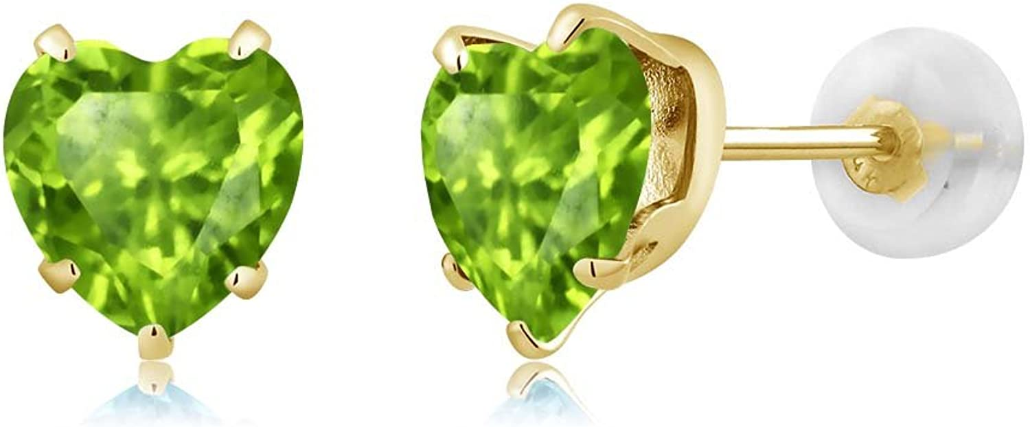 1.66 Ct Heart Shape 6mm Green Peridot 10K Yellow gold Stud Earrings