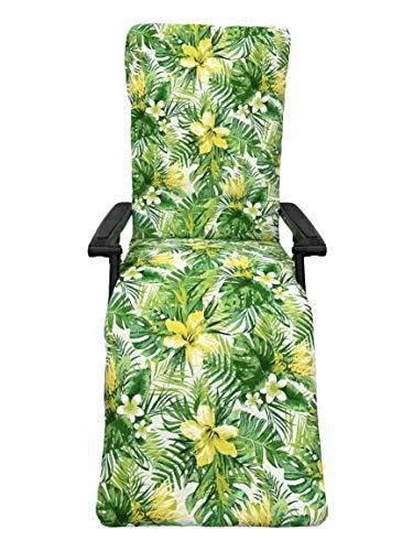 TIENDA EURASIA® Cojín para Tumbona de Jardín - Estampados Tropicales - Cojín Acolchado Relleno de Fibra - Medidas 120-180 x 50 x 10 cm - Ideal para tumbonas, sillas y hamacas. (Tropical 2, 180 cm)