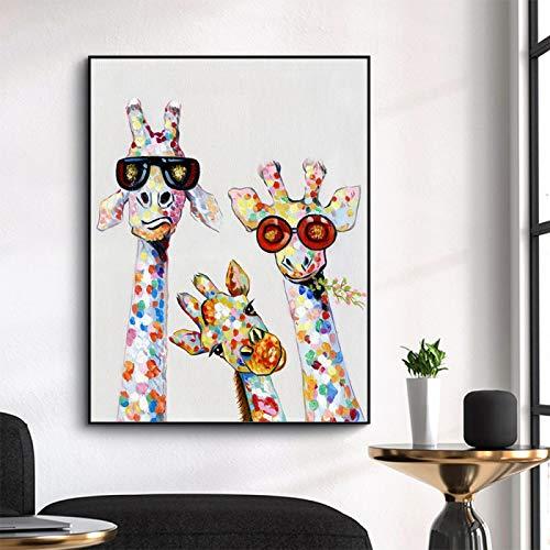 HSFFBHFBH Wandkunst Leinwanddruck Tierbild Bunte Giraffe Familienplakatmalerei für Kinderbild Wohnzimmer Wohnkultur 40x70cm Innenrahmen