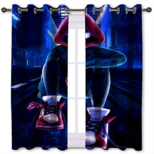 SSKJTC Noise Cancelling Curtains Cute Anime Spiderman Illustration Thermal Insulated W42 x L54