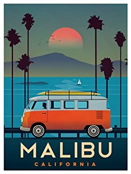 American Vinyl Vintage Art Malibu VW Bus Sticker  surf California ca Old