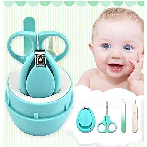 Baby Nagelschere, OYD 4 Stück Baby Nagelknipser Safety Grooming Kit Nagelpflege Maniküre Set mit Schere, Pinzette und Nagelfeile für Neugeborene, Babys und Kinder
