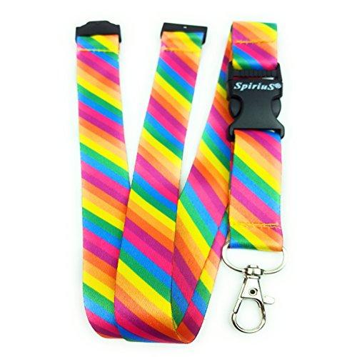 Correa de cuello para el teléfono SpiriuS, cordón con gancho de seguridad a la moda para el móvil, las llaves, tarjetas de identificación, color rainbow stripes