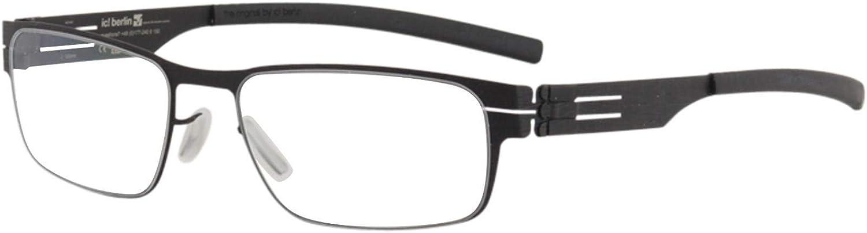 Ic  Berlin Rast Eyeglasses Waved Black RXClear Flex 51 mm