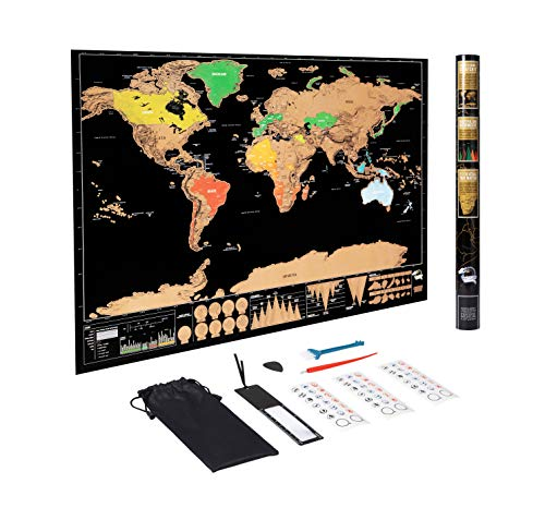 Hyindoor スクラッチマップ 世界地図 82.5x59.4cm 旅行地図 ポスター トラベルマップ 学習地図 インテリア 壁の装飾
