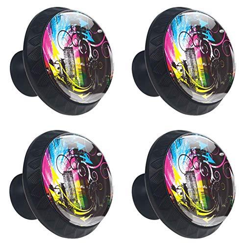 Ciudad virtual Armario Manija Lente cristalina convexa con figura 3D Pantalla para cajón Armario Tire de la manija Perillas elegantes para decorar Kidsroom Gabinete de cocina Paquete de 4