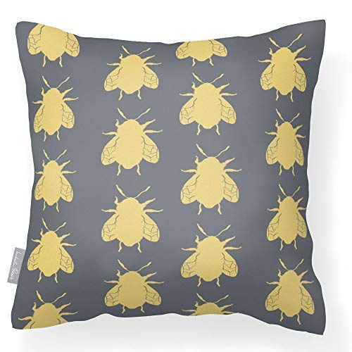 Izabela Peters Outdoor Garden Cushion Waterproof - Grey - Bees - Breathable Fabric - Lakeland Collection - Designed, Printed & Handmade In The UK