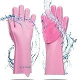 weikin - Guantes de silicona mágicos - Guantes para lavar platos con cepillo limpieza de...
