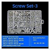 スクリュー セルフタッピングスクリューセットステンレススチール304ネジラウンドヘッドクロスマシン歯ネジ六角ナット316ナットネジキャップ (Color : Set 3)