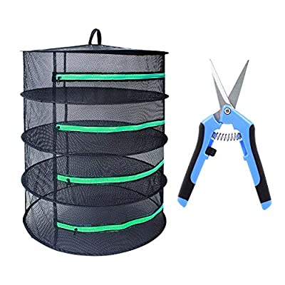 G-LEAF Drying Rack Net Dryer 3ft 4 Layer Black W/Green Zippers Collapsible Mesh Hydroponics