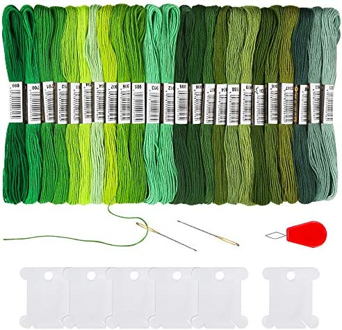 Pllieay 24 Skeins Green Gradient Embroidery Floss Cross Stitch Threads Friendship Bracelets product image