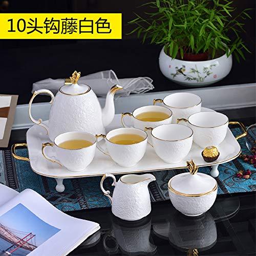 Set di tazze da tè Phnom Penh con piattino, set da tè pomeridiano, set da 14 pezzi, 10 pezzi in rilievo bianco – grande pentola 1 latte, 1 zuccheriera, 1 tazza, 6 vassoi, 1 confezione regalo