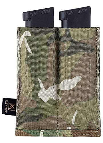 KRYDEX Molle Double Magazine Pouch Speed Pistol Mag Pouch Bag for 9mm . 45 .40 Magazine (MC)