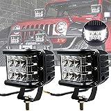 Luce LED Tiratore Laterale, 45W Luci Stroboscopiche per Cubo di Emergenza per Auto da 12 Baccelli LED Lampada da Lavoro per Fendinebbia Laterale per Jeep ATV SUV Truck Boat (2PCS-Luce Bianca Laterale)