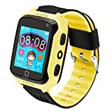Kids Smartwatch Phone for Children, with Anti-Lost GPS Positioning Tracker, Calling, SOS, Voice Chat, Pedometer, Compatible with Android/iPhone iOS, for Birthday & Christmas for Boy or Girls (Yellow)