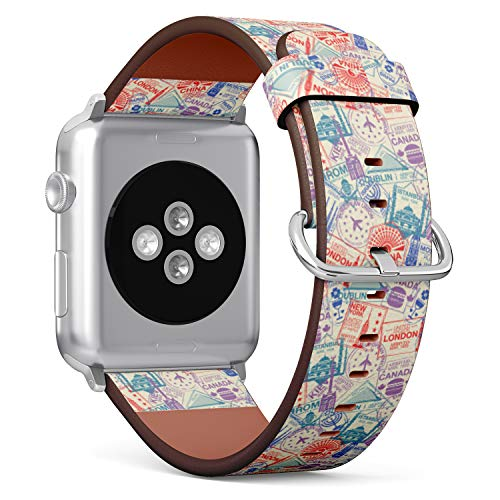 R-Rong kompatibel Watch Armband, Echtes Leder Uhrenarmband f¨¹r Apple Watch Series 4/3/2/1 Sport Edition 42/44mm - Pattern with World Visa Rubber Stamps on Passport