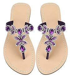 Deep Purple Rhinestone Flat Flip Flop Sandal