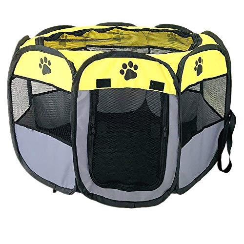 HAOYILAI Hond kooi maat medium huisdier cover met deur levering kamer kat strooisel opvouwbare Oxford doek waterdicht anti-scratch hond tent huisdier hek, 90*90*58cm, Groen Grijs