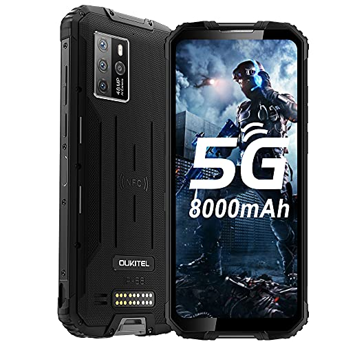 "OUKITEL WP10 5G Rugged Smartphone Unlocked, 8000Mah Battery 18W Fast Charging, 6.67"" FHD+ Screen, 8GB+128GB Sony 48MP AI Quad Camera, Waterproof Shockproof, NFC/GPS Dual SIM, Android 10 Unlocked Phone"