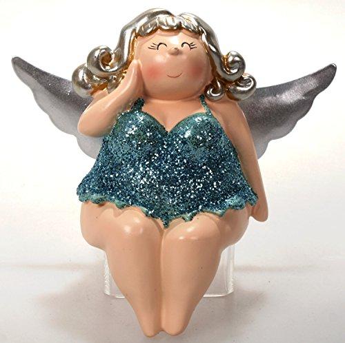 Schick-Design Engel Molly türkis 12 cm Kantenhocker Mädchen Rubensfrau mollige Dame in Dessous Dicke Frau Badezimmer Figur