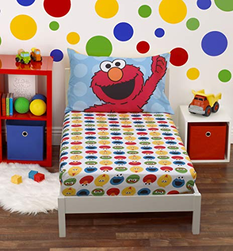 Sesame Street - Yellow, Blue, Red 2Piece Toddler Sheet Set with Fitted Crib Sheet & Pillowcase, Yellow, Blue, Red, Green