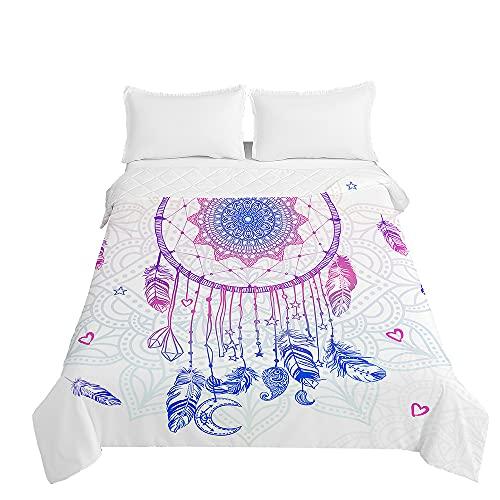 Surwin Tagesdecke Bettüberwurf Steppdecke für Doppelbett Einzelbett, Mikrofaser Wattiert Gesteppt Bettdecke 3D Traumfänger Dünne Tagesdecken mit Ultraschall Prägung (Herz,180x220cm)