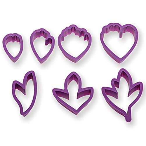 Decora KIT 7 Cutters Peony Pfingstrosen-Ausstechformen-Set, Plastik, violett, 8.5 x 8.5 x 5 cm
