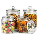 Glass Cookie Jar -2x 1/2 Gallon (64oz) & 1/4Gallon (32oz) - Glass Apothecary Jars With Lids - Canister Sets For Kitchen Counter - Glass Candy Jars - Glass Canisters Set Of 4 - Sugar Containers For Countertop