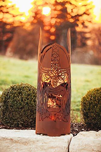 Feuertonne Feuerkorb Feuersäule Feuerstelle Ragnarök Wikinger Nordmann Metall stabil und robust Edelrost - Maße 120 cm x 36 cm