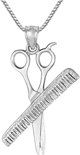 Sterling Silver Comb & Scissors 3 Dimensional Pendant, Made in USA, 18