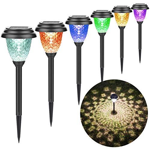 NefCase Solarleuchten Garten, IP55 Wasserdicht Dekorative Licht für Garten Rasen Gehweg Balkon Landschaft, Solar Wegeleuchte mit 2700K-3000K Warmes Weißes Licht und Farbwechsel (8 Stück)