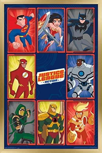 Trends International DC Comics TV - Justice League: Action - Grid Wall Poster, 22.375' x 34', Gold Framed Version