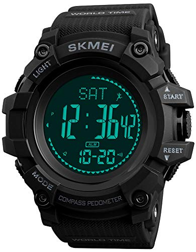 S Shock Military Sports Watches Compass Pedometer Calories Mens Watch Digital Waterproof Electronic Watches Men Wristwatch (Black)