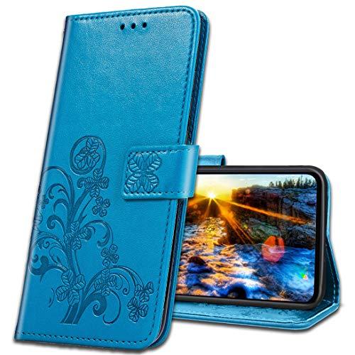 MRSTER Handyhülle für Motorola One Action Hülle, Schutzhüllen aus Klappetui mit Kreditkartenhaltern, Ständer, Magnetverschluss Tasche Kompatibel für Motorola One Action. Luck Clover Blue