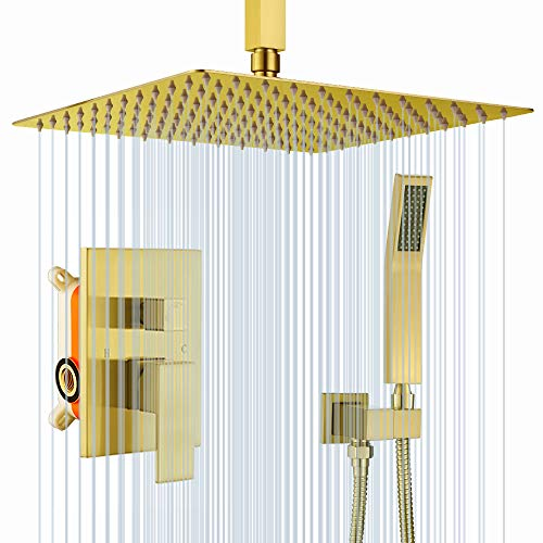 KOJOX Ceiling Shower System with 12 Inch Rain Shower head and Handheld Head, Bathroom Shower Faucet Set Trim Kit with Valve Combo(Brushed Gold)