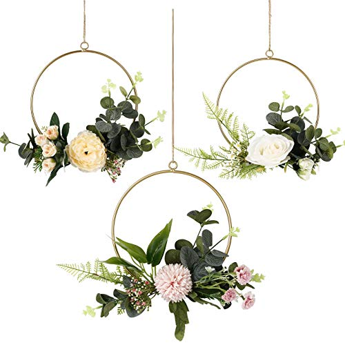 JUNGEN Hängende Dekoration aus Metall Künstliche Blume Runder Metallring Wandkranz für Geburtstag Hochzeit Party Wohnaccessoires Deko (3 Stück-Rund)