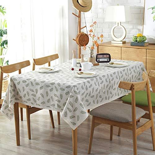 VLUNT Nappes Rectangulaires Carrees Anti Taches, Fete Festives Nappes de Table en Lin Tissu Motif Rameau d'olivier - G:140 * 250CM