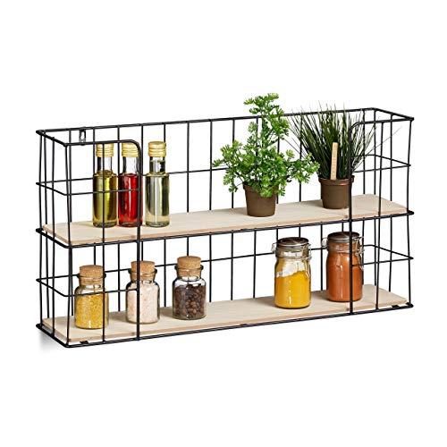 Relaxdays Wandregal, für Gewürze, Deko, 2 Ablagen, Küche, Wohnzimmer, MDF & Metall, Vintage, Küchenregal, natur/schwarz