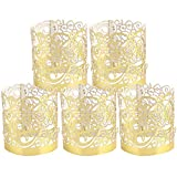 LOVEINUSA 48pcs Votive Wraps, Golden Tea Light Covers Laser Cutting for Decorative Wraps Flickering LED Battery Tealight Candles