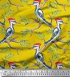 Soimoi Gelb Schwere Canvas Stoff Blätter & Specht-Vogel