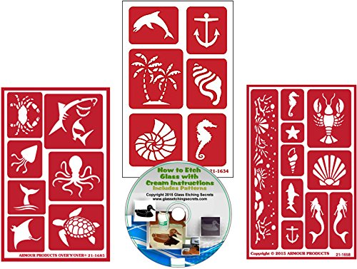 Sea & Ocean Life Animal Stencils: 3 Pack Reusable Nautical Stencils for Paint Or Glass Etching + How to Etch CD
