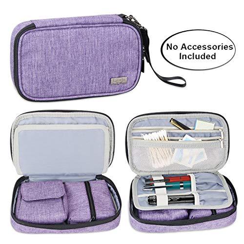 Luxja Diabetikertasche für Unterwegs, Tasche für Blutzuckermessgeräte und Diabetiker Zubehör (Nur Tasche), Lila