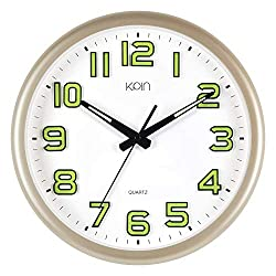 Kpin Silent Non-Ticking Large 14-Inch Wall Clock with Night Lights for Indoor/Kitchen/Living Room of Large Number Battery Operated (Gold, 14)