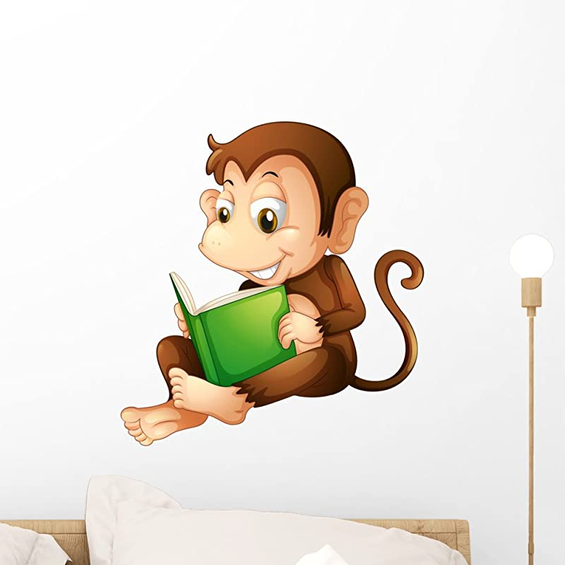 Wallmonkeys A Monkey Sitting While Reading A Book Wall Decal Peel And Stick Graphic WM243144 18 In H X 17 In W