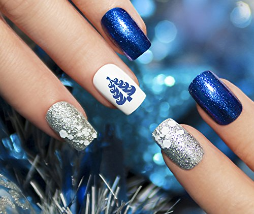 Christmas Holiday Water Slide Nail Art Decals Blue Set #3- Salon Quality