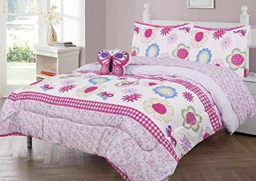 6 Piece Twin Size Kids Girls Teens Comforter Set Bed in Bag with Shams, Sheet Set and Decorative Toy Pillow, Flower Butterfly Pink Lilac Girls Kids Comforter Bedding Set w/Sheets,Twin 6pc Floral Pink